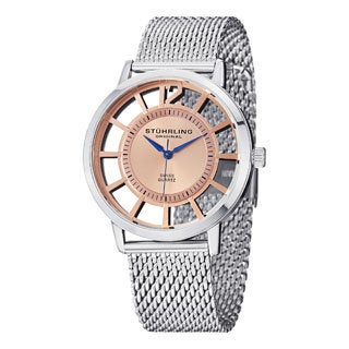 Stuhrling Original Men's Winchester Del Sol Elite Rosetone Quartz Mesh Band Watch