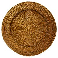 4-piece Brown Rattan Round Charger Plate Set