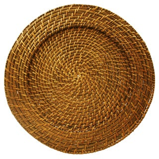 4-piece Brown Rattan Round Charger Plate Set  sc 1 st  Overstock.com & Wood Dinnerware For Less | Overstock.com
