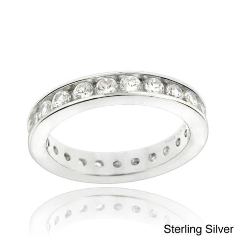 Icz Stonez Sterling Silver Cubic Zirconia Eternity Band Ring