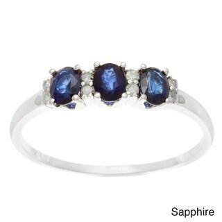 Viducci 10k White Gold 3-Stone Sapphire, Ruby, Emerald and 1/10ct TDW Diamond Ring (G-H, I1-I2)