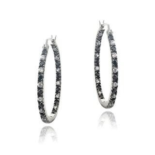 Glitzy Rocks Silver Cubic Zirconia Black and White Hoop Earrings