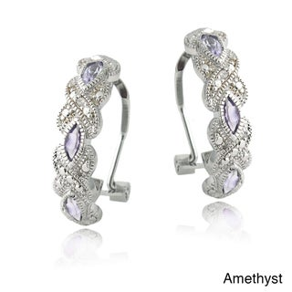 Link to Glitzy Rocks Silvertone Gemstone and Diamond Accent Hoop Earrings Similar Items in Earrings