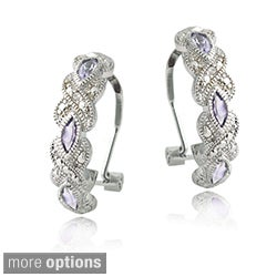Glitzy Rocks Silvertone Gemstone and Diamond Accent Hoop Earrings