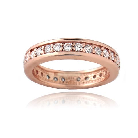 Icz Stonez Rose Gold over Sterling Silver Cubic Zirconia Eternity Band Ring