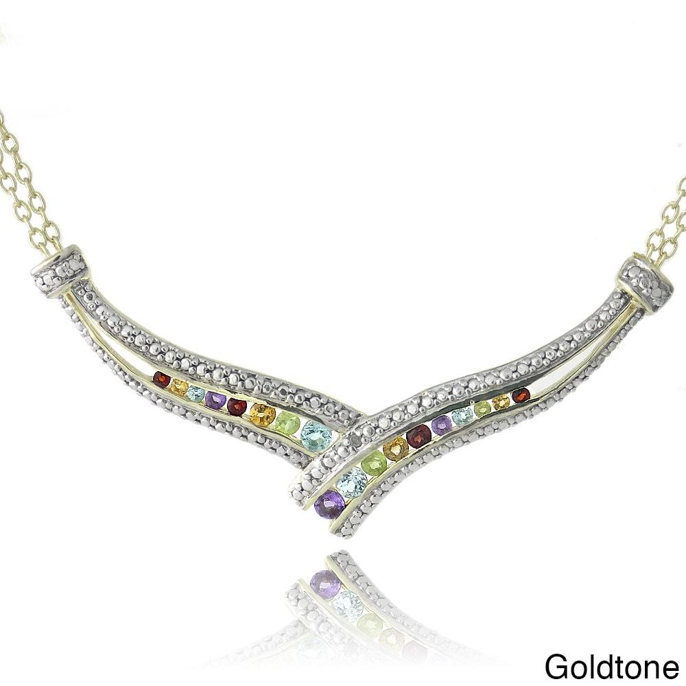 Glitzy Rocks Multi-gemstone Frontal Crossover Necklace (W...