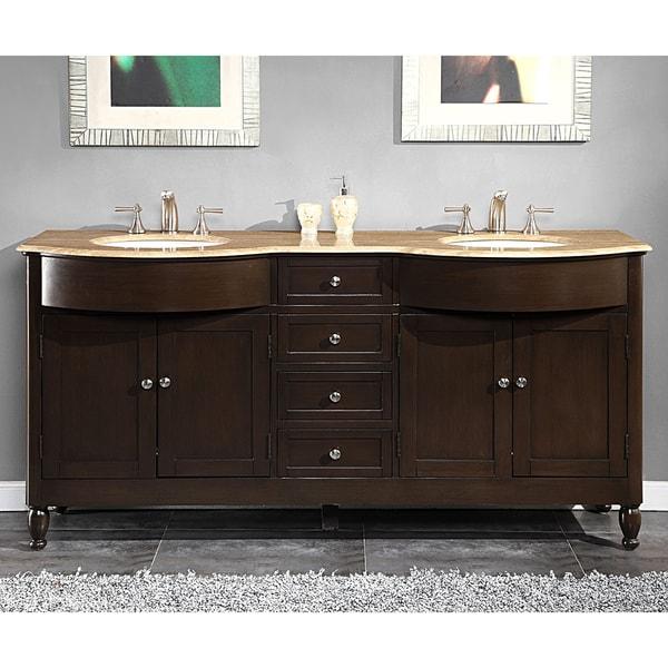 Silkroad Exclusive 72-inch Travertine Stone-top Double Sink Bathroom Vanity. Opens flyout.