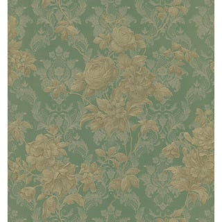 Brewster Green Floral Damask Wallpaper