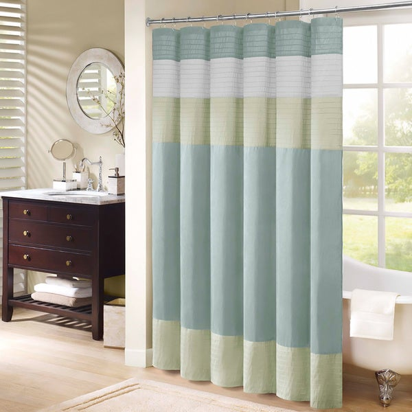 Madison Park Chester Pieced Faux Silk Shower Curtain ...