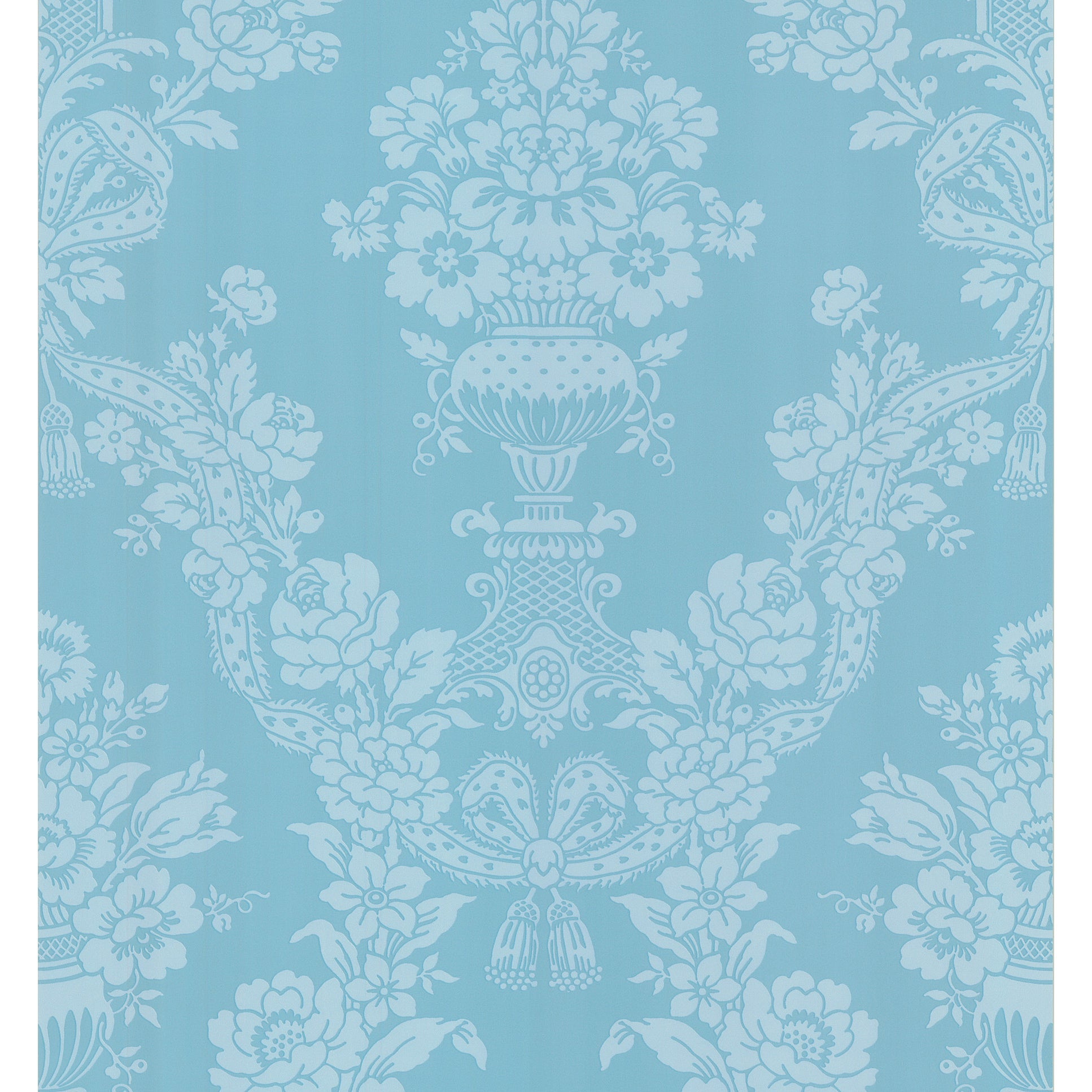 Shop Brewster Aqua Floral Damask Wallpaper Free Shipping On