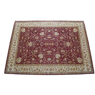 Herat Oriental Indo Hand-knotted Red/ Ivory Vegetable Dye Wool Rug (17'10 x 25'2)