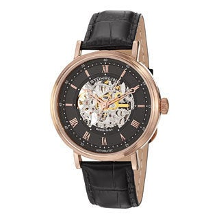 Stuhrling Original Men's 'Lexington' Automatic Skeleton Leather Strap Watch with Black Face