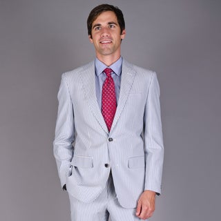 Men's Blue 2-button Seersucker Cotton Suit