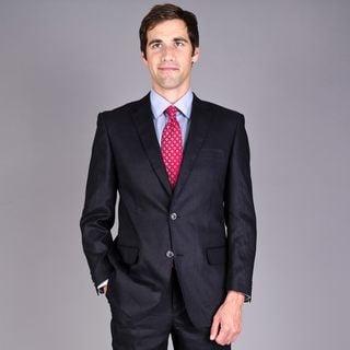 Men's Black 2-Button Linen Suit