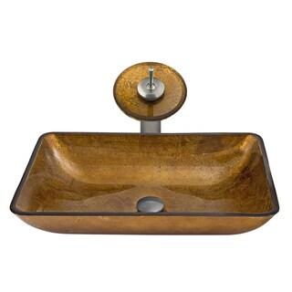 VIGO Rectangular Copper Glass Vessel Sink Waterfall Faucet Set