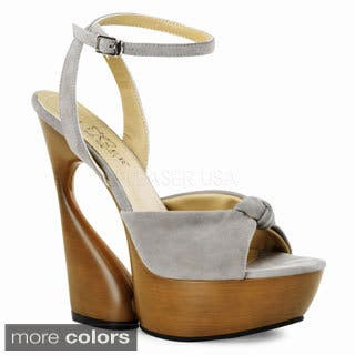 Pleaser Day & Night Women's 'Swan' Suede Knotted Peep-Toe Sculpted Heels|https://ak1.ostkcdn.com/images/products/8116789/P15464388.jpg?impolicy=medium