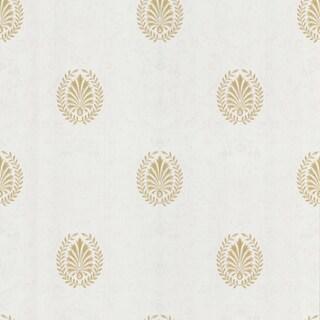 Brewster White Leaf Medallion Wallpaper