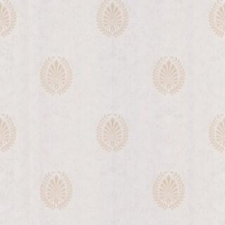 Brewster Beige Leaf Medallion Wallpaper