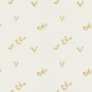 Brewster Green Roosters Vintage Toile Wallpaper
