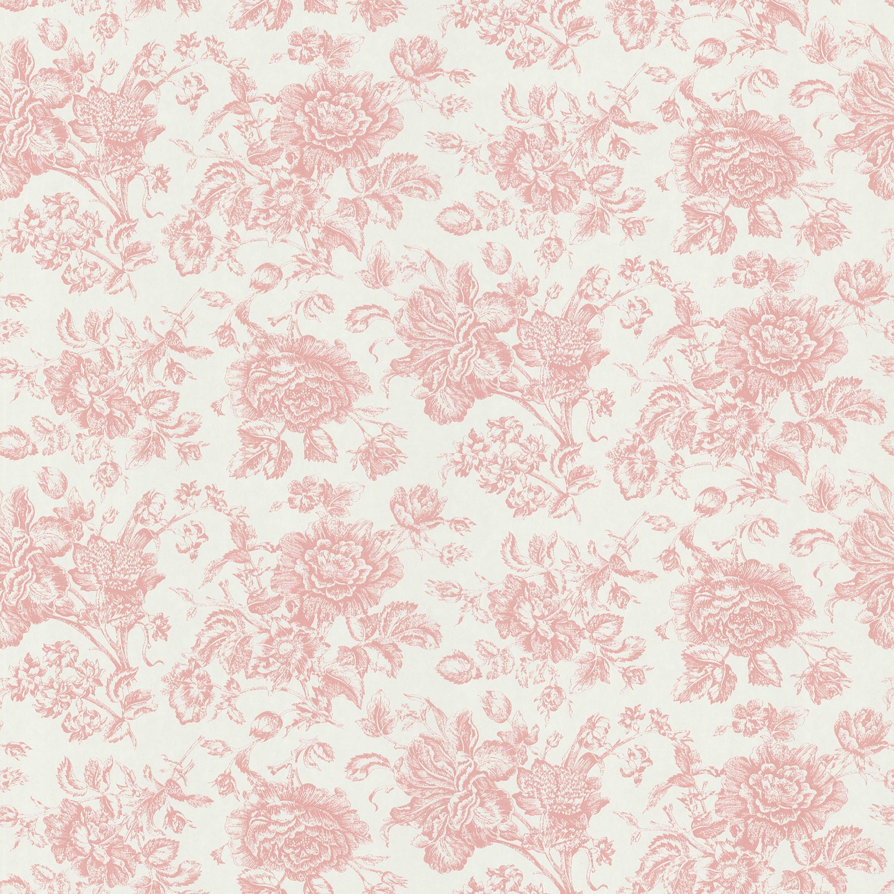 Shop Brewster Pink Floral Toile Wallpaper Overstock 8116889
