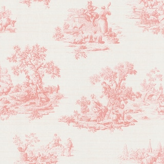 Shop Brewster Pink Vintage Toile Wallpaper Free Shipping
