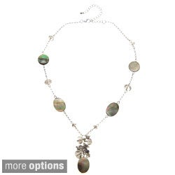 Alexa Starr Silvertone Mother of Pearl and Glass Y Necklace