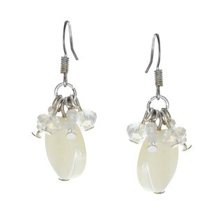Alexa Starr Silvertone Mother of Pearl and Glass Cluster Earrings (2 options available)