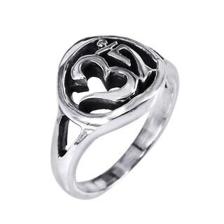 Handmade Sterling Silver Spiritual Symbol Aum/ Om Prayer Ring (Thailand)