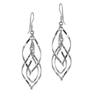 Handmade Elegantly Twisting Sterling Silver Dangle Earrings (Thailand)