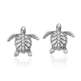 Handmade Silver Textured Swimming Sea Turtles Earrings (Thailand)