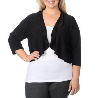 R & M Richards Women's Plus Size Ruffle Shrug