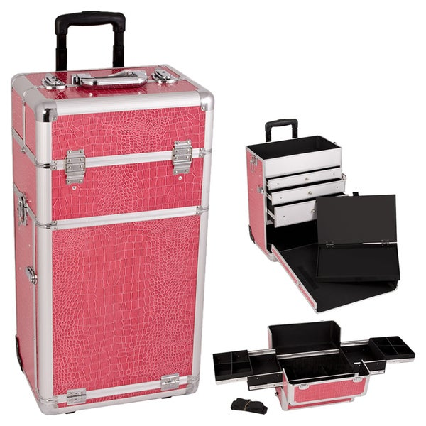 Craft accents hot pink crocodile textured rolling storage for Rolling craft table with storage