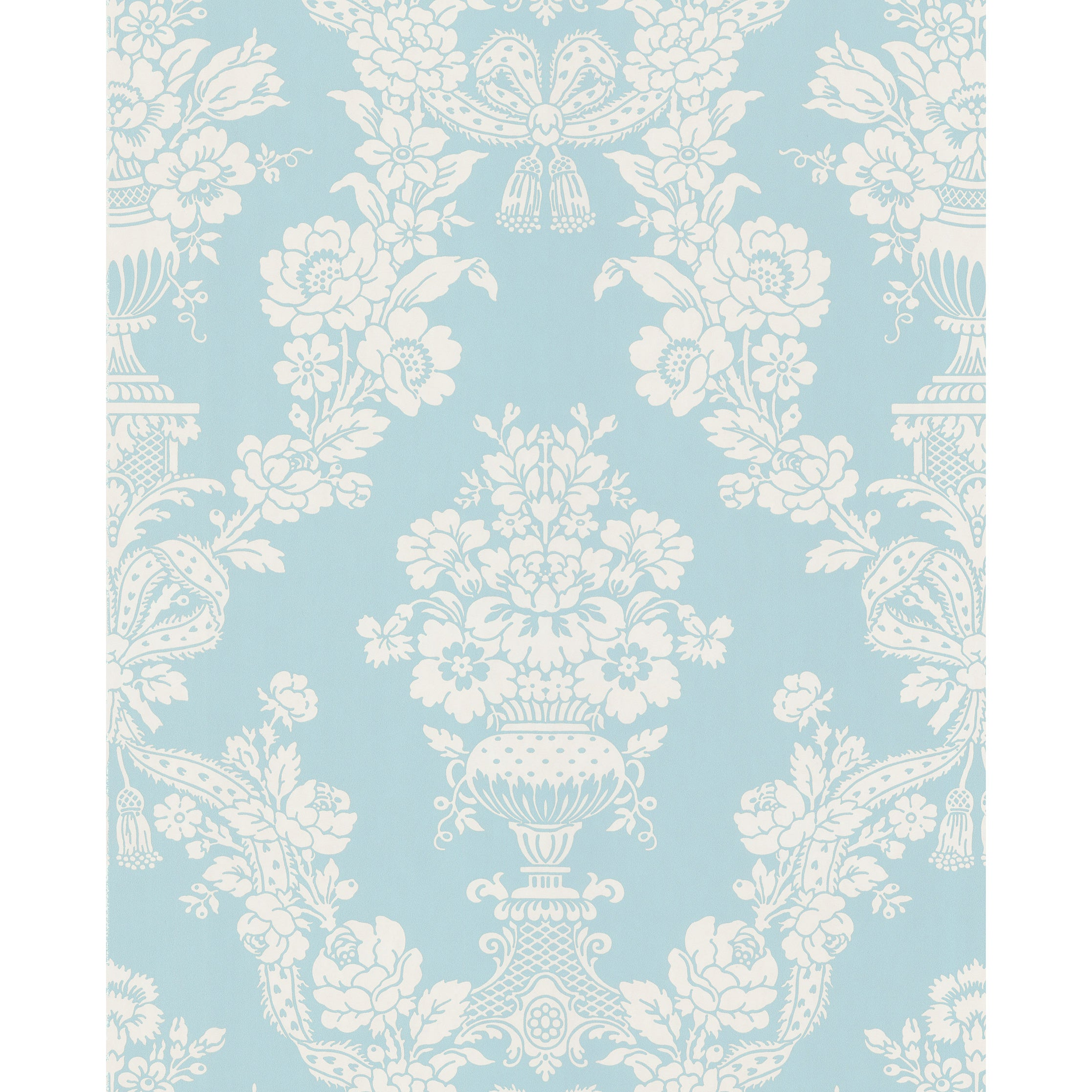Shop Brewster Aqua Floral Damask Pre Pasted Wallpaper Overstock