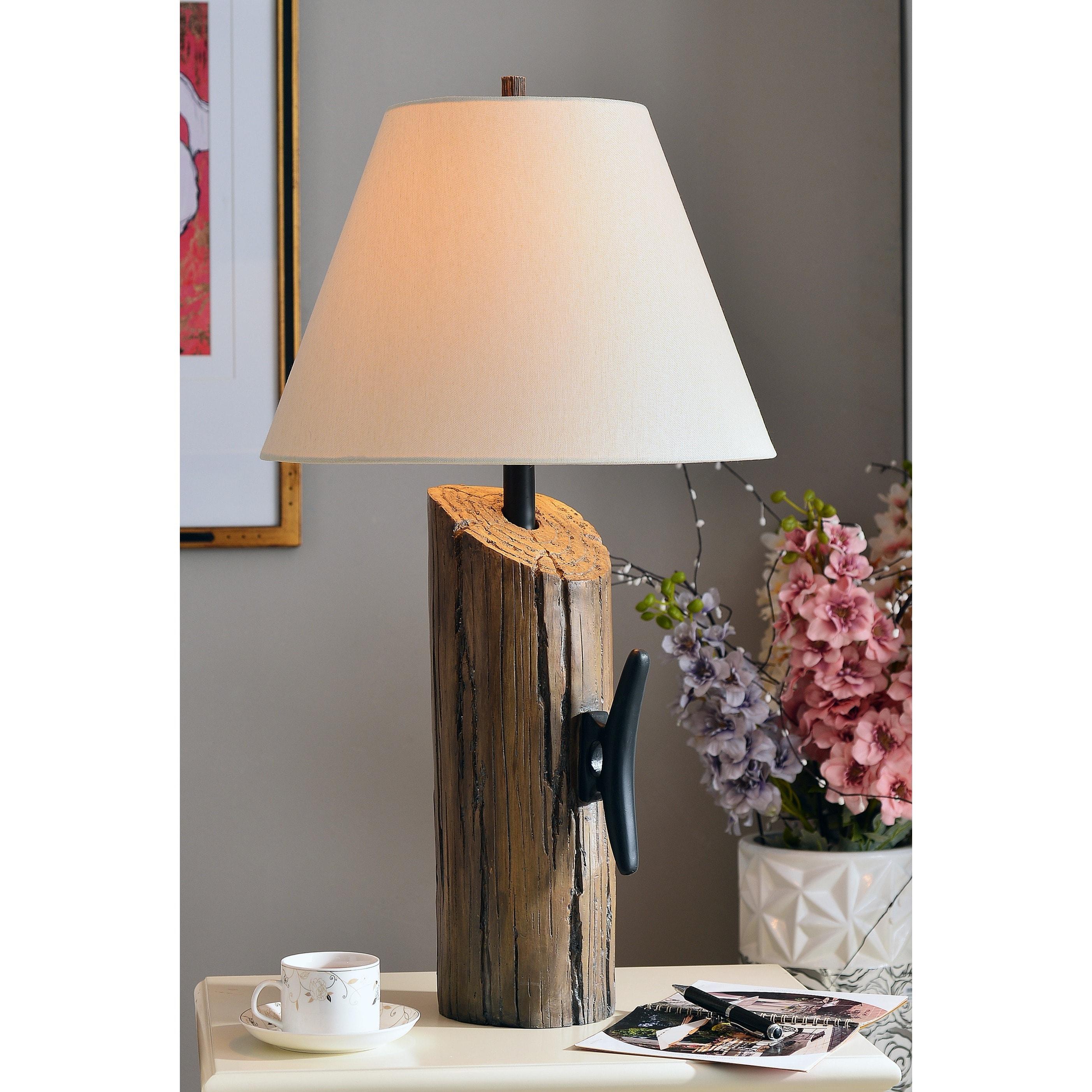 Design Craft Dockside Table Lamp, White (Wood)