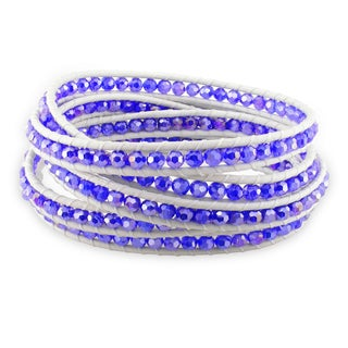 Miadora Sterling Silver Crystal White Leather Cord Bracelet