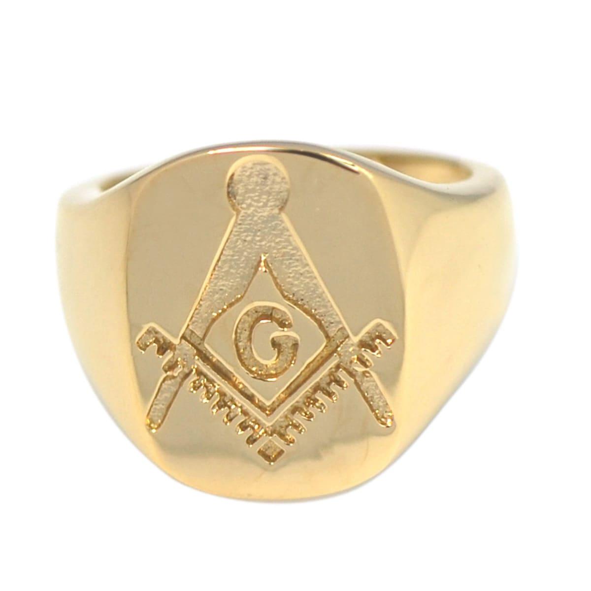 De Buman 14k Gold Overlay Masonic Symbol Ring (8), Men's