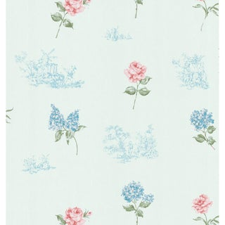 Brewster Home Fashions Light Blue Floral Toile Wallpaper
