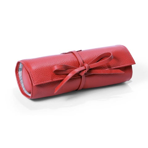 Morelle Carrie Coral Genuine Top Grain Leather Jewelry Roll Tie