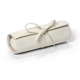 Morelle Carrie Cream Genuine Top Grain Leather Jewelry Roll Tie
