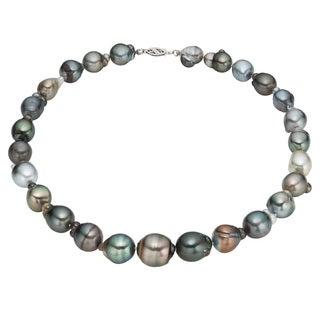 Pearlyta 14K White Gold Multi-colored Tahitian Pearl Necklace (9-15 mm)