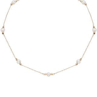 Pearlyta 14k Yellow Gold Children's Freshwater Pearl Chain Necklace (4-5 mm)