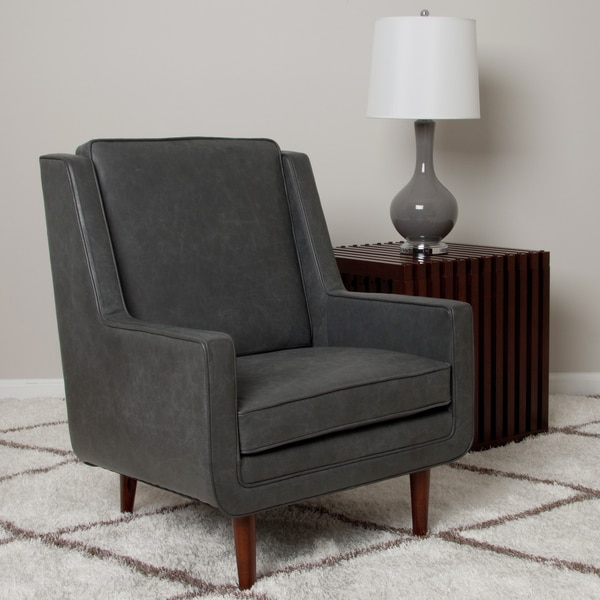 Shop Moss Oxford Leather Grey Accent Chair Free Shipping