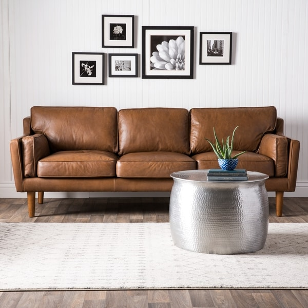 Carson Carrington Beatnik Oxford Leather Tan Sofa Free Shipping Today 15465010