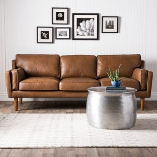 Carson Carrington Elsinore Oxford Tan Leather Sofa