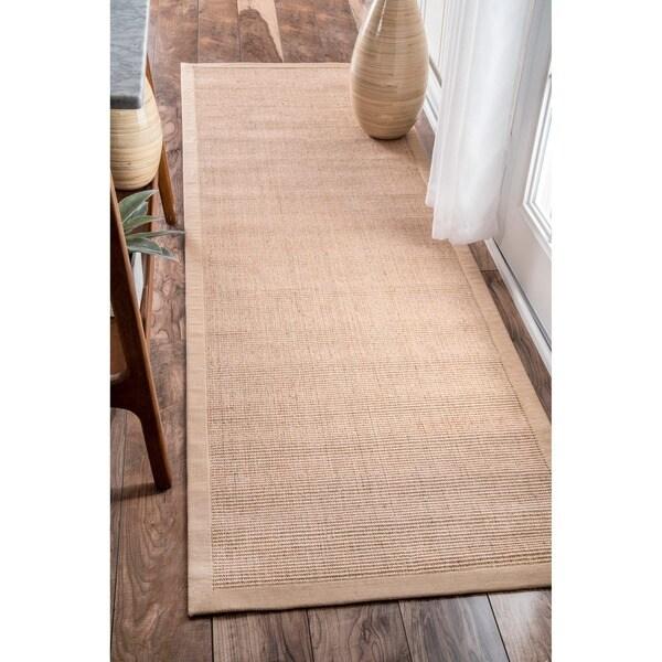 "nuLOOM Natural Fiber Cotton Border Sisal Herringbone Rug (2' 6"" x 8')"