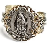Sweet Romance Virgin Mary Miraculous Medal Virgin of Guadalupe Vintage Cuff Bracelet