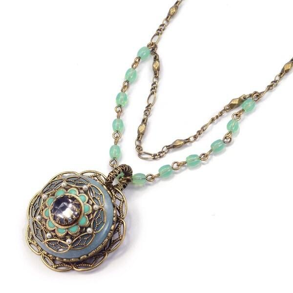 Sweet Romance Amazonite Medallion Pendant Necklace