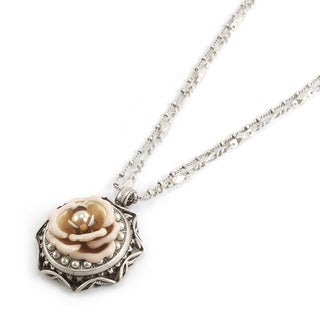 Sweet Romance Ivory Enamel Rose and Pearls Silver Pendant Necklace
