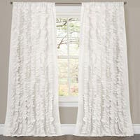 Oliver & James Saville White Ruffled Curtain Panel