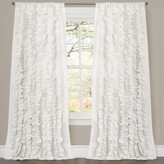Gracewood Hollow Quist White Ruffled Curtain Panel